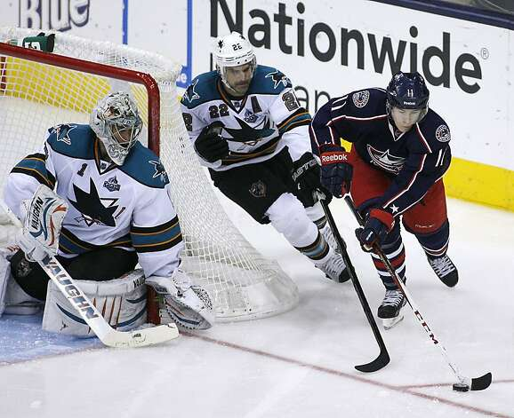Columbus Blue Jackets' Matt Calvert (11) moves behind the net as San Jose Sharks' Dan Boyle (22) chases and goalie Thomas Greiss (1) watches during the third period of an NHL hockey game, Monday, Feb. 11, 2013, in Columbus, Ohio. Columbus won 6-2. (AP Photo/Mike Munden) Photo: Mike Munden, Associated Press