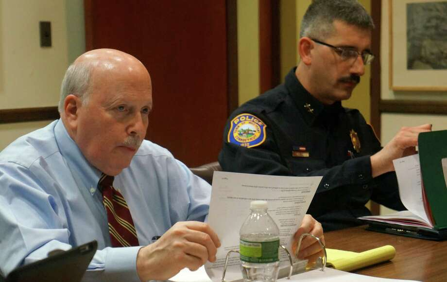 First Selectman Gordon Joseloff, left, and Police Chief Dale Call during Monday's Board of Finance meeting where Joseloff unveiled a $193 million budget for 2013-14.  WESTPORT NEWS, CT 2/11/13 Photo: Paul Schott / Westport News