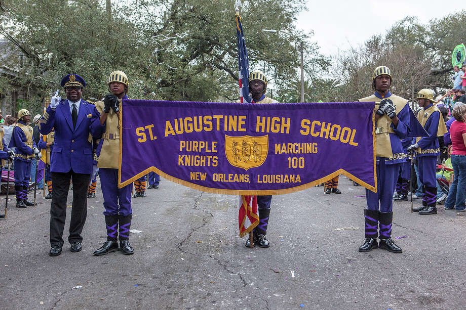 St. Augustine High School Purple Knights marching band in the 2013 Krewe of Bacchus Mardi Gras Parade on February 10, 2013 in New Orleans, Louisiana. Photo: Skip Bolen, Getty Images / 2013 Skip Bolen