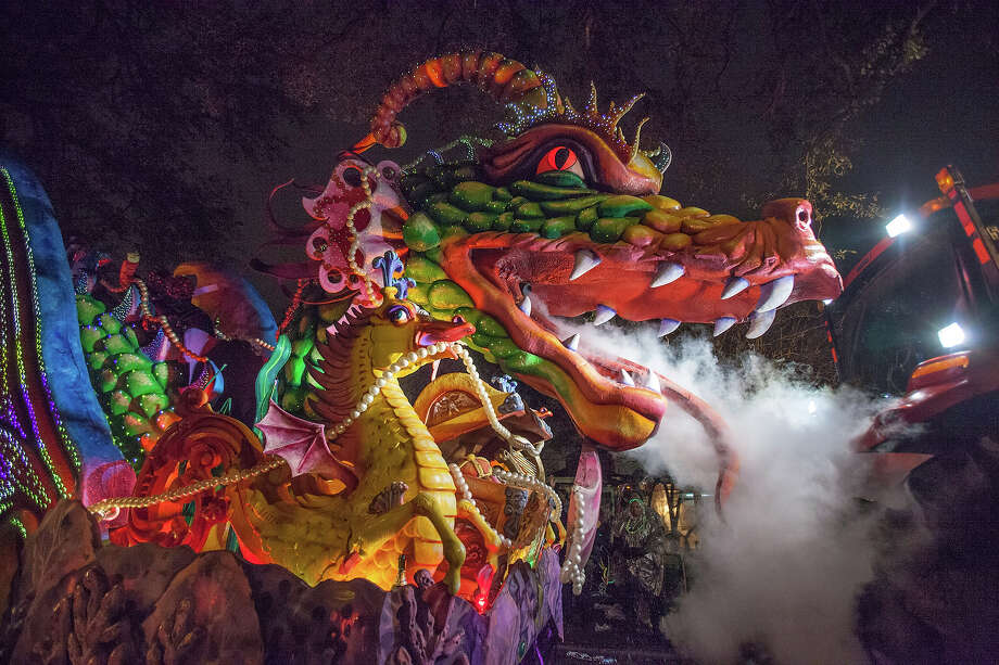 The Leviathan dragon float with breathing smoke and fiber optic lighting in the 2013 Krewe of Orpheus Mardi Gras Parade on February 11, 2013 in New Orleans, Louisiana. Photo: Skip Bolen, Getty Images / 2013 Skip Bolen