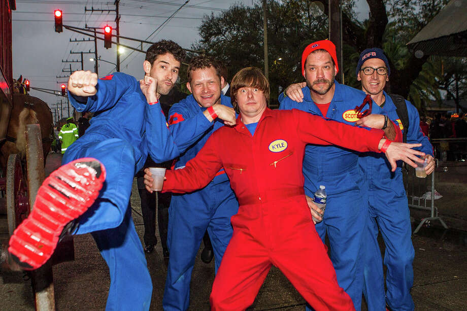 Rich, Dave, Kyle, Scott and Smitty of the Imagination Movers prepare to ride in the 2013 Krewe of Orpheus Mardi Gras Parade on February 11, 2013 in New Orleans, Louisiana. Photo: Skip Bolen, Getty Images / 2013 Skip Bolen
