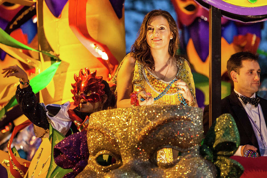 Actress Mariska Hargitay riding in the 2013 Krewe of Orpheus Mardi Gras Parade on February 11, 2013 in New Orleans, Louisiana. Photo: Skip Bolen, Getty Images / 2013 Skip Bolen