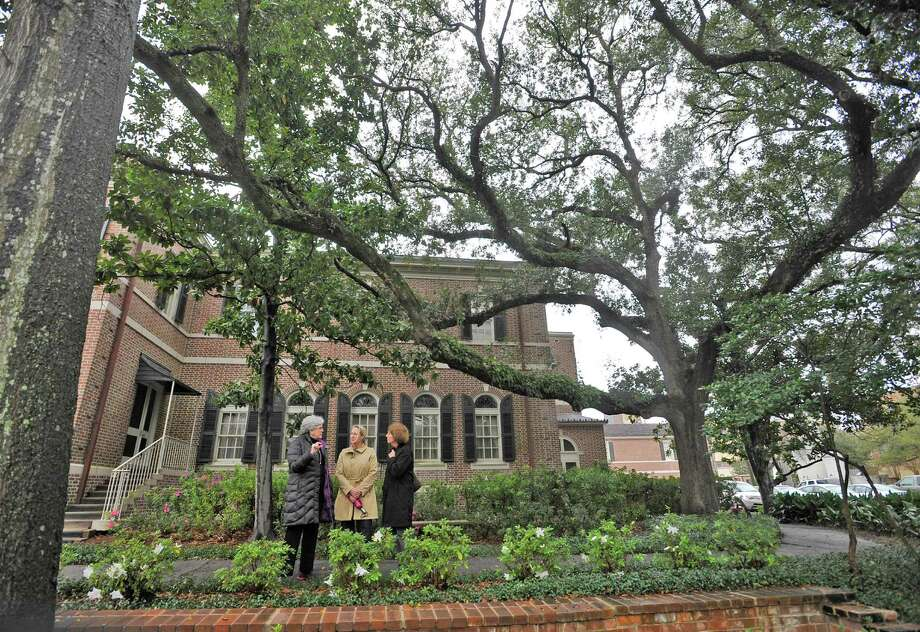 The Director of the office of Facilities Engineering and Operations for the  Smithsonian Institution, Nancy Bechtol, right, took a tour of the gardens at Christus St. Elizabeth, formerly known as the East Garden, Monday afternoon. Leslie Wilson, President of the Beaumont Garden Club, middle, and Martha Hicks, Garden Chairman, left,  accompanied  her and described the work in detail that had been done.  Dave Ryan/The Enterprise Photo: Dave Ryan