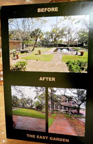 These poster prints showed some of the work done to the garden. The Director of the office of Facilities Engineering and Operations for the  Smithsonian Institution, Nancy Bechtol, took a tour of the gardens at Christus St. Elizabeth, formerly known as the East Garden Monday afternoon.  Dave Ryan/The Enterprise