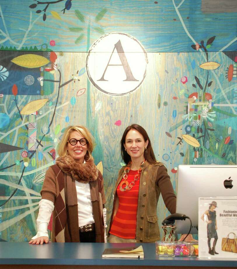 Jarret Liotta/For the New Canaan News Liz Logie, left, and Veronique Lee, both of New Canaan, opened Atelier360 on Greenwich Avenue in Greenwich to showcase and sell hand-crafted items by artisans from around the world. Photo: Contributed