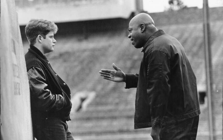 FORTUNE in RUDY (1993): You're five foot nothin', one hundred and nothin' ... and I'm a figment of your imagination. While much of Rudy was real, the supportive groundskeeper played by Charles S. Dutton was a script convenience. He's a composite of several people who helped  the real Rudy. Photo: Tri-Star Pictures / ONLINE_YES