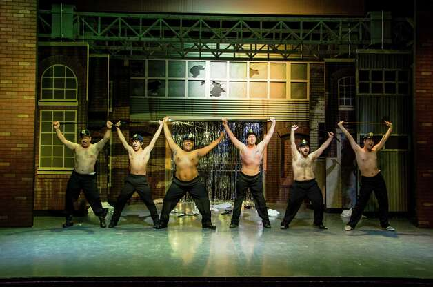 "The cast of the Woodlawn Theatre's staging of ""The Full Monty"" includes, from left, Marc Daratt, Sean Hagdorn, Garyon Ray Judon , Anthony Cortino, Ben Scharff and Walter Songer. Courtesy Siggi Ragnar Photo: Courtesy Photo"