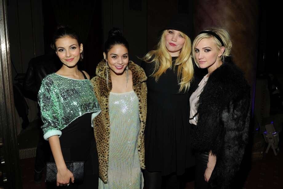 (L-R) Victoria Justice, Vanessa Hudgens, Designer Kim Gordon and Ashlee Simpson attend the Wildfox Fall 2013 Collection Presentation & Live Performance at Capitale on February 6, 2013 in New York City. Photo: Craig Barritt, Getty Images For Wildfox / 2013 Getty Images