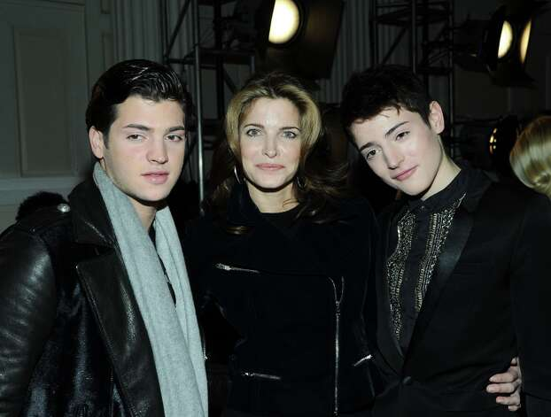 Stephanie Seymour and sons (L-R) Peter Brant and Harry Brant attend the Jason Wu fall 2013 fashion show during Mercedes-Benz Fashion Week on February 8, 2013 in New York City. Photo: Ilya S. Savenok, Getty Images / 2013 Getty Images