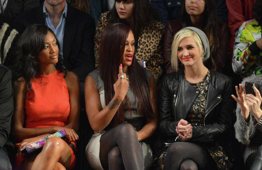 (L-R) Actress Nichole Galacia, singer Eve and Ashlee Simpson attend the Nicole Miller Fall 2013 fashion show during Mercedes-Benz Fashion Week at The Studio at Lincoln Center on February 8, 2013 in New York City.  (Photo by Mike Coppola/Getty Images for Mercedes-Benz Fashion Week) Photo: Mike Coppola, (Credit Too Long, See Caption) / 2013 Getty Images