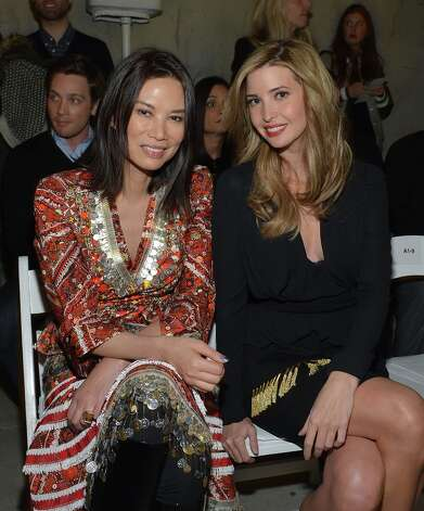 Wendi Deng Murdoch (L) and Ivanka Trump attend the Altuzarra fall 2013 fashion show during Mercedes-Benz Fashion Week at Skylight Studio on February 9, 2013 in New York City. Photo: Mike Coppola, Getty Images / 2013 Getty Images