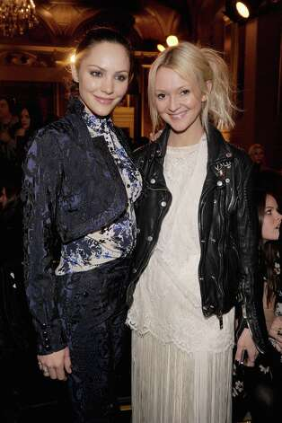 Actress Katherine McPhee (L) and Marie Claire fashion editor Zanna Roberts Rassi attend the Zac Posen Fall 2013 fashion show during Mercedes-Benz Fashion Week on February 10, 2013 in New York City.  (Photo by Jamie McCarthy/Getty Images for Mercedes-Benz Fashion Week) Photo: Jamie McCarthy, (Credit Too Long, See Caption) / 2013 Getty Images