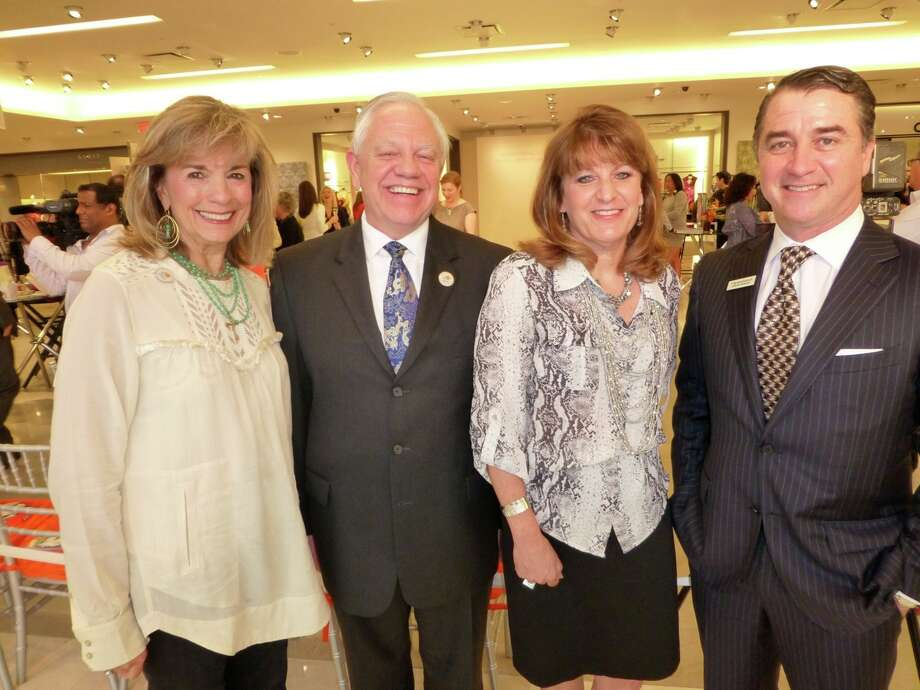 "Barbara Stevens (from left), John Toohey and Margaret Kanyusik of Arts San Antonio joined with Neiman Marcus General Manager Tom Wensinger to host a spring fashion preview celebrating the March 8 performance of ""The Rite of Spring"" fashion show. Photo: Nancy Cook-Monroe"