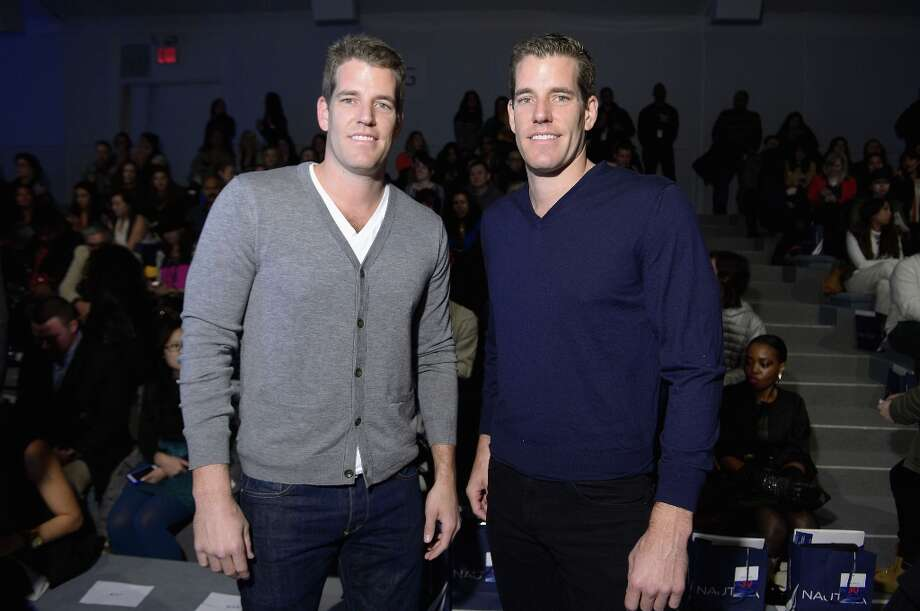 Tyler and Cameron Winklevoss attend the Nautica Men's Fall 2013 fashion show during Mercedes-Benz Fashion Week at The Stage at Lincoln Center on February 8, 2013 in New York City.  (Photo by Michael Loccisano/Getty Images for Mercedes-Benz Fashion Week) Photo: Michael Loccisano, (Credit Too Long, See Caption) / 2013 Getty Images