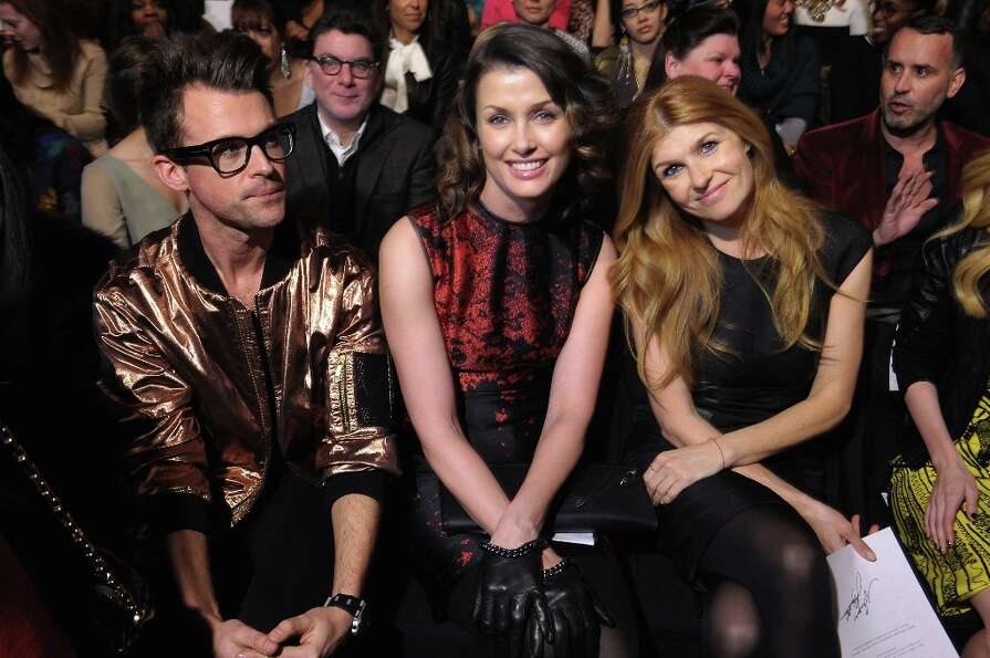 (L - R) Brad Goreski, Bridget Moynahan, and Connie Britton attend the Monique Lhuillier Fall 2013 fa