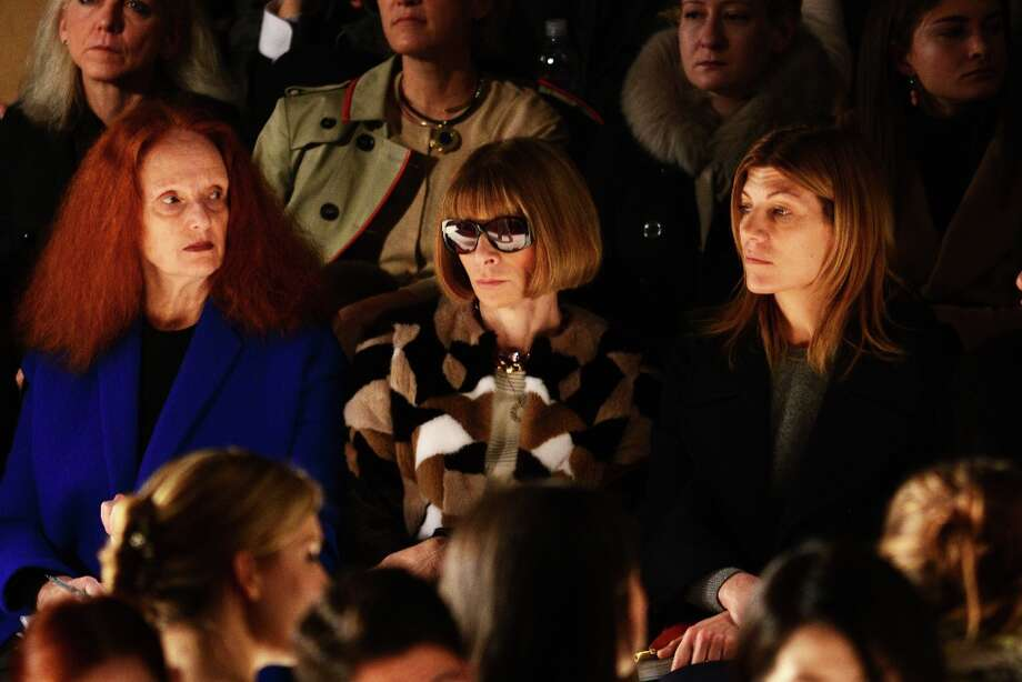 (L-R)  Vogue Creative Director Grace Coddington, Vogue magazine Editor-in-chief Anna Wintour, and Vogue Fashion Market/Accessories Director Virginia Smith attend the Carolina Herrera Fall 2013 fashion show during Mercedes-Benz Fashion Week at The Theatre at Lincoln Center on February 11, 2013 in New York City.  (Photo by Bryan Bedder/Getty Images for Mercedes-Benz Fashion Week) Photo: Bryan Bedder, (Credit Too Long, See Caption) / 2013 Bryan Bedder