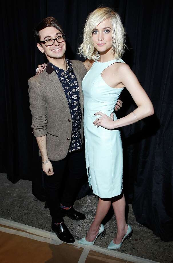 Designer Christian Siriano (L) and Ashlee Simpson attend the Christian Siriano Fall 2013 fashion show during Mercedes-Benz Fashion Week on February 9, 2013 in New York City. Photo: Joe Kohen, Getty Images / 2013 Getty Images
