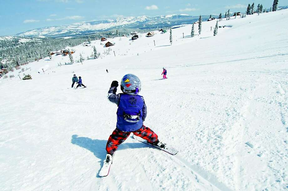 A child participated in a group lesson at the Downhill Ski Area at Tahoe Donner resort. Photo: Tahoe Donner