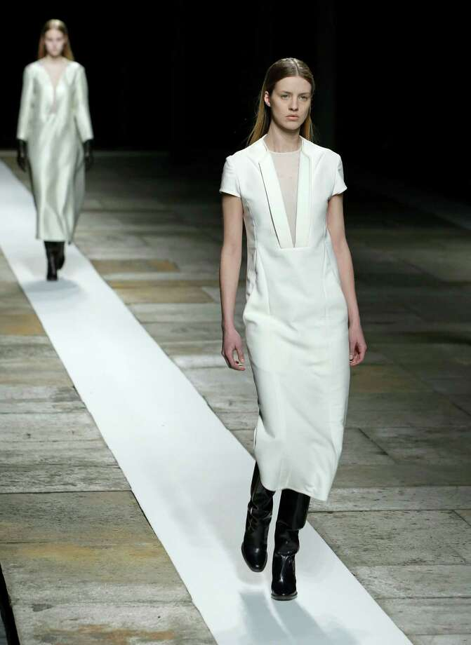 A model walks the runway during the Theyskens Theory Fall 2013 runway show at Fashion Week in New York, Monday, Feb. 11, 2013. Photo: Kathy Willens, Associated Press / AP
