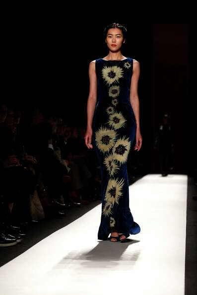A model wears a design by Carolina Herrera during the Mercedes-Benz Fashion Week Fall 2013 collectio