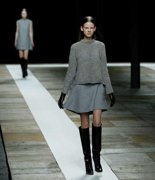 A model walks the runway during the Theyskens Theory Fall 2013 runway show at Fashion Week in New Yo