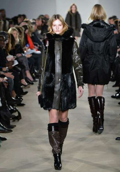 A model walks the runway at the Belstaff fall 2013 fashion show during Mercedes-Benz Fashion Week at