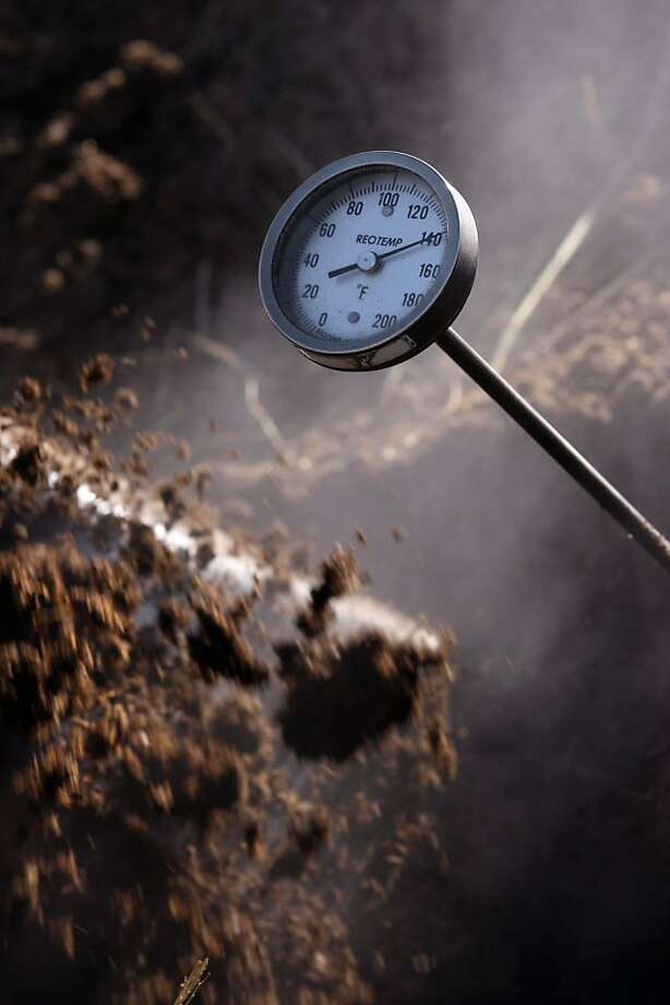 The compost pile should heat up to 129 to 139 degrees Fahrenheit. Photo: Liz Hafalia, The Chronicle