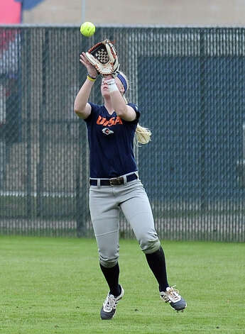 UTSA player Siera Sproul, #1, catches a pop fly in left field during the Lamar University softball game against UTSA at Ford Park on Saturday, February 9, 2013.  Lamar won over UTSA 3-2. Photo taken: Randy Edwards/The Enterprise Photo: Randy Edwards
