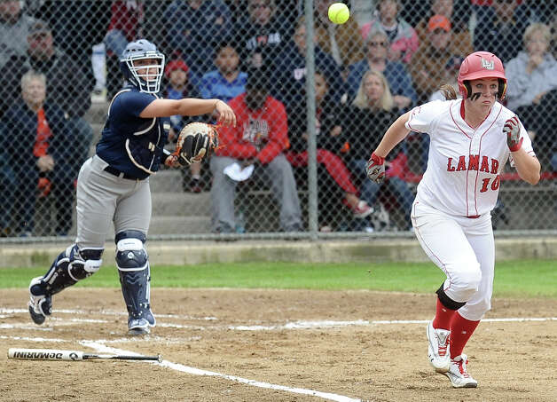 Lamar player Tina Shultz, #10, takes off down the first base line on a dropped third strike during the Lamar University softball game against UTSA at Ford Park on Saturday, February 9, 2013.  Lamar won over UTSA 3-2. Photo taken: Randy Edwards/The Enterprise Photo: Randy Edwards