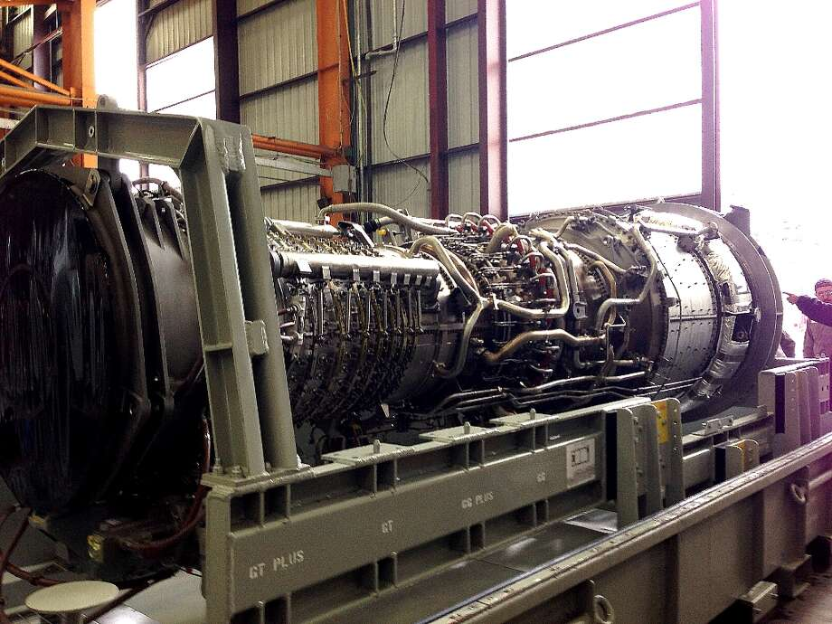 A GE Energy aeroderivative turbine at an assembly plant in Houston. The completed unit will be part of a GE Energy line with models that have the capacity to generate 16 megawatts and 125 megawatts of electricity. The units can be turned on within 10 minutes. They can run on natural gas and other fuels, like ethanol.
