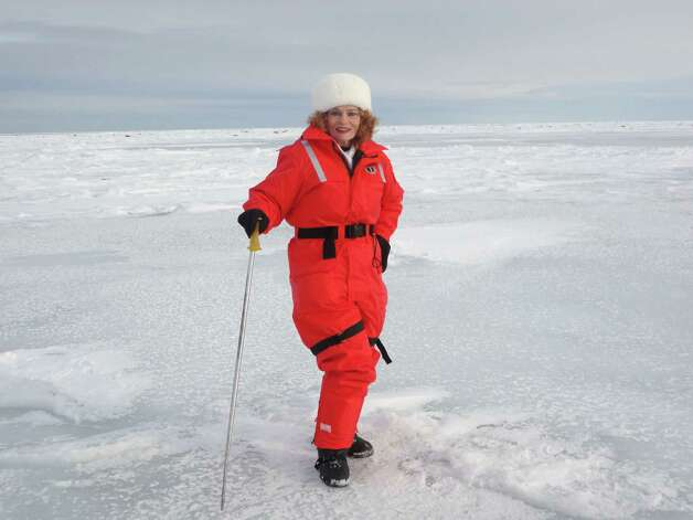 Mary Virginia McCormick Pittman-Waller on an ice floe during a 12-day, harp seal watch tour at the Magdalen Islands in Quebec, Canada. Photo: Courtesy Of Mary Virginia McCorm