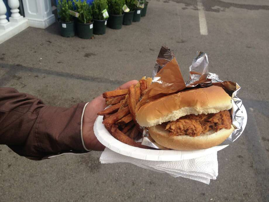 A pulled-pork sandwich at the San Antonio Stock Show & Rodeo. Photo: Sarah Tressler/Express-News