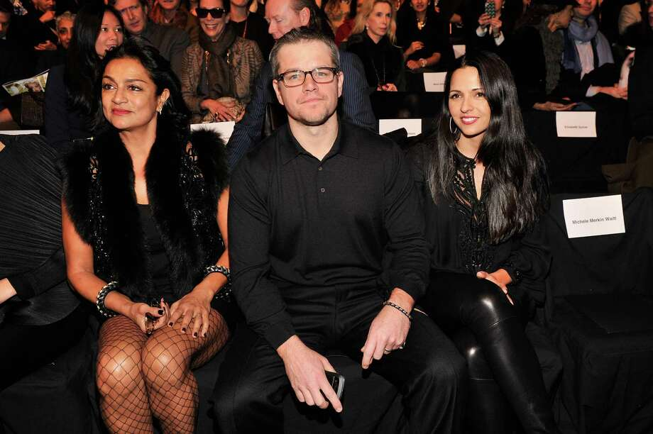 Actor Matt Damon and wife Luciana Barroso attend the Naeem Khan Fall 2013 fashion show during Mercedes-Benz Fashion Week at The Theatre at Lincoln Center on February 12, 2013 in New York City.  (Photo by Stephen Lovekin/Getty Images for Mercedes-Benz Fashion Week) Photo: Stephen Lovekin, (Credit Too Long, See Caption) / 2013 Getty Images