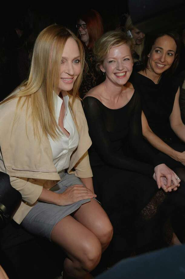 Actresses Uma Thurman (L) and Gretchen Mol attend the Donna Karan New York Fall 2013 fashion show during Mercedes-Benz Fashion Week at 547 W 26th Street on February 11, 2013 in New York City.  (Photo by Mike Coppola/Getty Images for Mercedes-Benz Fashion Week) Photo: Mike Coppola, (Credit Too Long, See Caption) / 2013 Getty Images