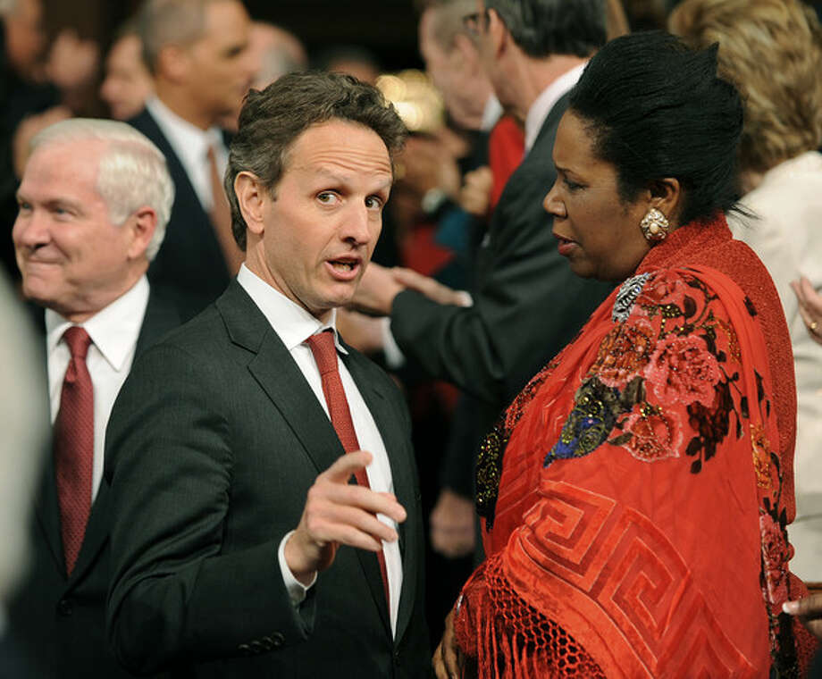 Chatting with Obama Treasury Secretary Tim Geithner.