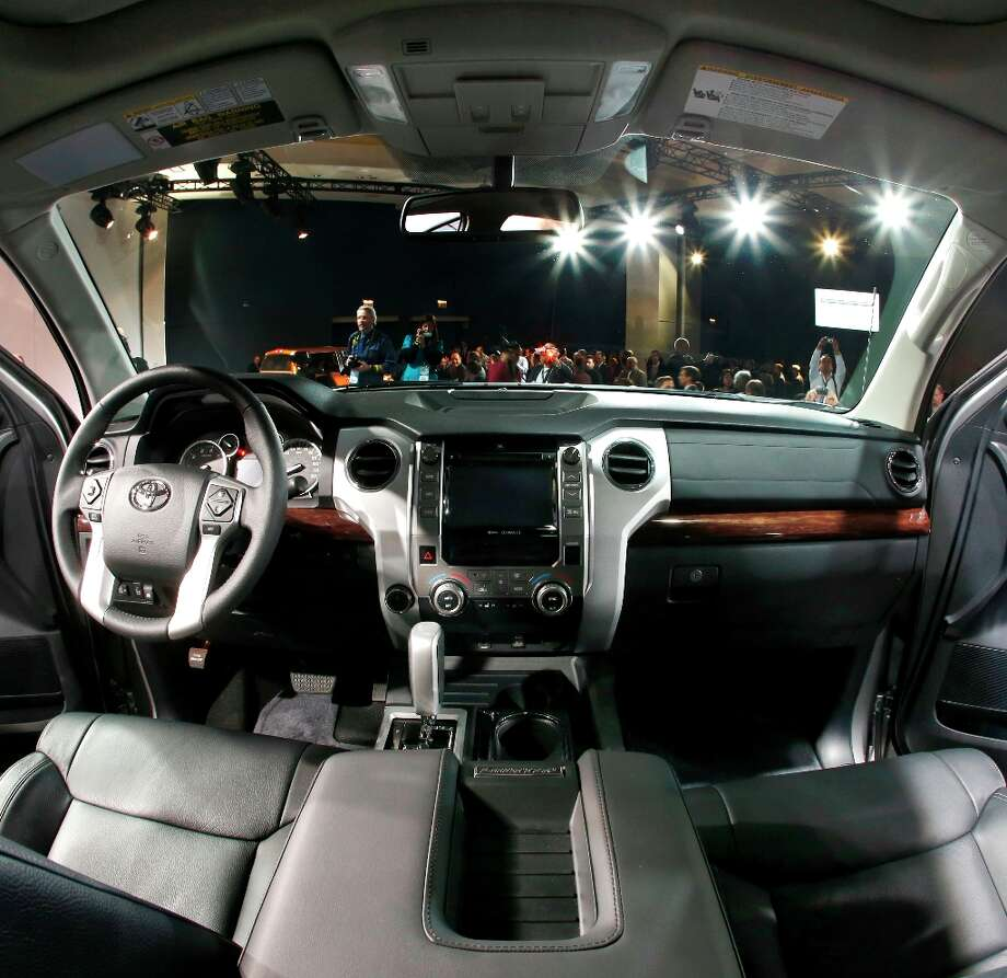 The interior of the redesigned 2014 Toyota Tundra is unveiled at the Chicago Auto Show Thursday, Feb. 7, 2013, in Chicago. (AP Photo/Charles Rex Arbogast) Photo: Charles Rex Arbogast, Associated Press / AP