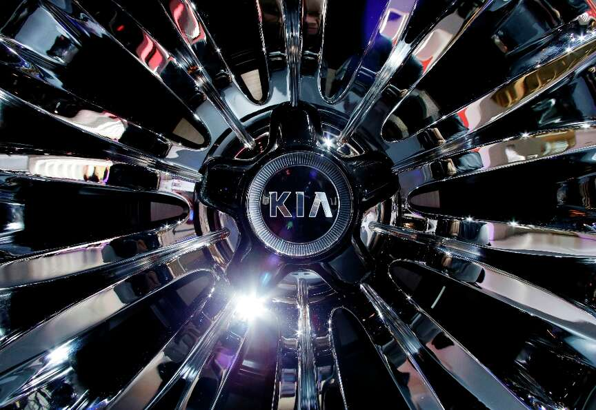 Detail view of a wheel of the Kia Cadenza is seen during the media preview of the Chicago Auto Show