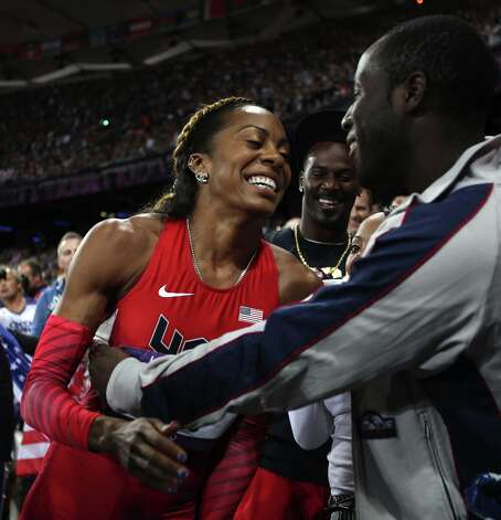 You might remember American track star Sanya Richards-Ross from the summer Olympics. Here she is celebrating with her husband Aaron Ross, a cornerback for the Jacksonville Jaguars. Photo: Ezra Shaw, Getty Images / 2012 Getty Images