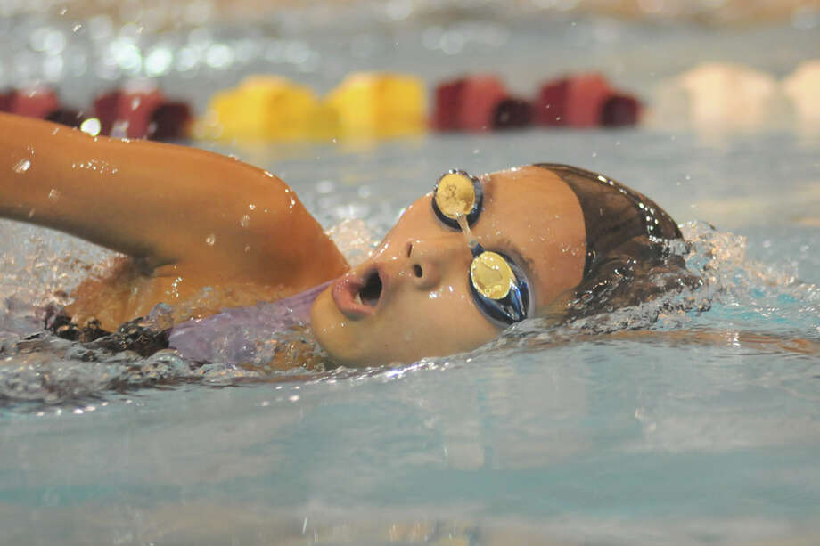 Kinkaid freshman Yujing Zhu swims her heat of the Girls 500 Yard Freestyle at the SPC Swimming & Diving Championship. Photo by Jerry Baker Photo: Jerry Baker, Freelance / Freelance
