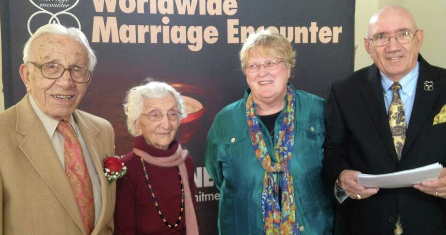 John and Ann Betar of Fairfield, at left, were recognized for their 80-year marriage last week by Diane and Dick Baumbach of the group, Worldwide Marriage Encounter. Photo: Contributed Photo / Fairfield Citizen contributed