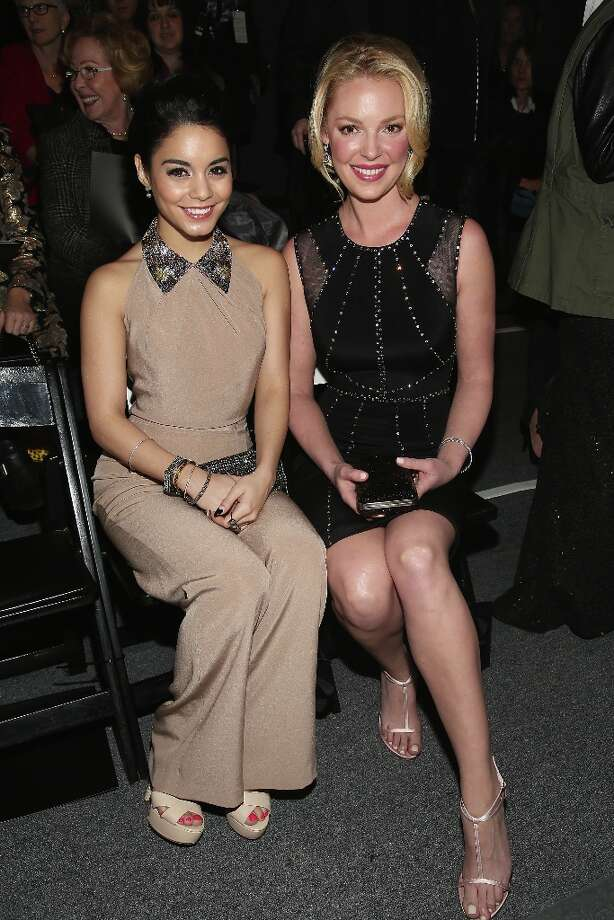 NEW YORK, NY - FEBRUARY 12:  Actress Vanessa Hudgens and actress Katherine Heigl attend the Jenny Packham Fall 2013 fashion show during Mercedes-Benz Fashion Week at The Studio at Lincoln Center on February 12, 2013 in New York City. Photo: Astrid Stawiarz, Getty Images For TRESemme / 2013 Getty Images