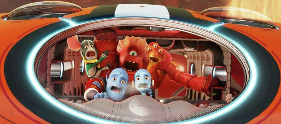 "Doc (Craig Robinson), Io (Jane Lynch), Thurman (George Lopez), (front row, from left) Scorch Supernova (Brendan Fraser), and Gary Supernove (Rob Corddry) in the animated film ""Escape From Planet Earth."" Photo: The Weinstein Co."