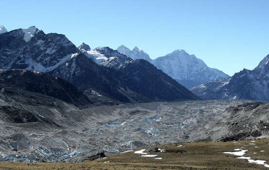This photograph taken on December 4, 2009 shows a glacier in the Everest region some 87 miles northeast of Kathmandu. The Himalayan glaciers provide water for more than a billion people in Asia, but experts say they are melting at an alarming rate, threatening to bring drought to large swathes of the continent within decades. (PRAKASH MATHEMA/AFP/Getty Images) Photo: PRAKASH MATHEMA, Multiple / 2009 AFP