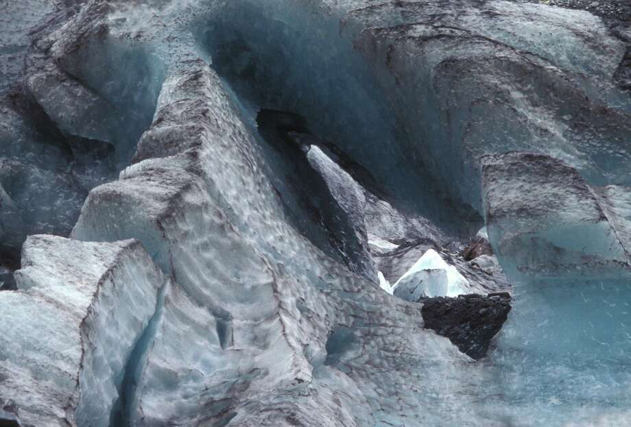 Fox Glacier, detail of melting face. Westland Tai Poutini National Park, South Island, New Zealand. (Photo by Auscape/UIG via Getty Images) Photo: Auscape, Multiple / Universal Images Group Editorial