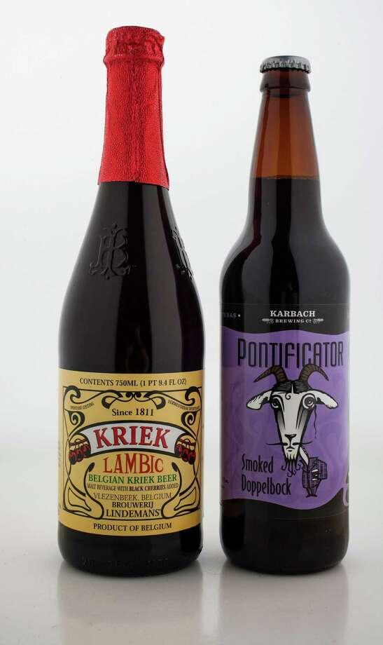 Valentine beers include Lindemans Kriek Lambic and Karbach Brewing's Pontificator. Photo: Karen Warren, Staff / © 2013 Houston Chronicle