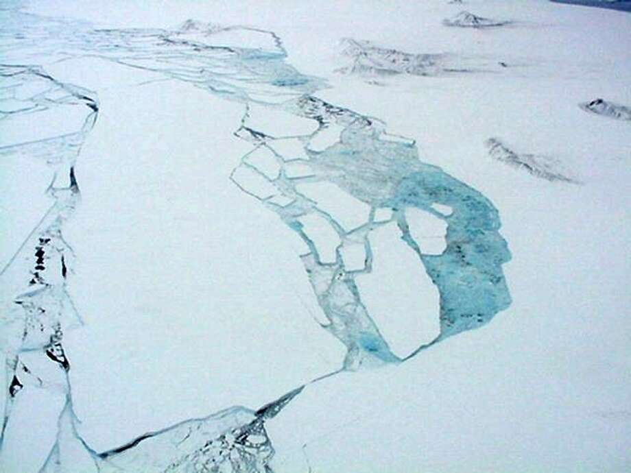The ends of glaciers that reach the ocean usually break apart into icebergs. The size of icebergs can range from small ice-cube sized chunks to vast tabular icebergs many tens of kilometers on a side. Photo: Multiple