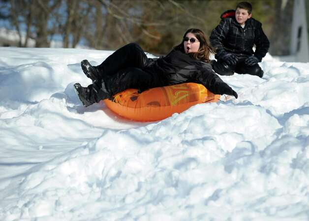 Johnny Nimons, 12, of Ansonia, sleds Tuesday, Feb. 12, 2013 in Ansonia, Conn. Photo: Autumn Driscoll