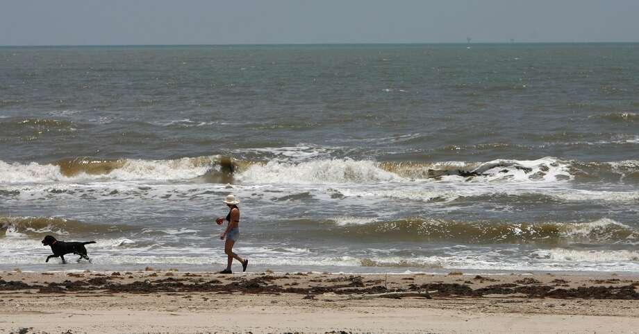 Paula Stephenson, of Jasper, Texas, walks her dog Rambo along the beach during her vacation on June 17, 2009, on Bolivar Peninsula. Photo: Julio Cortez / HC