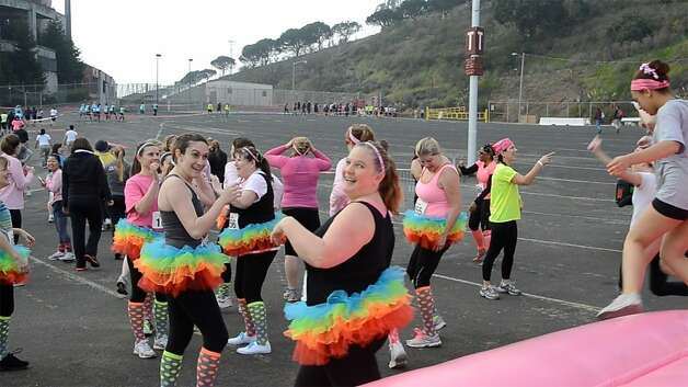 Participants in the Feb. 2 Dirty Girl Mud Run at Candlestick Park, an event that raises money for breast cancer research. Photo: Maggie Winterfeldt Clark