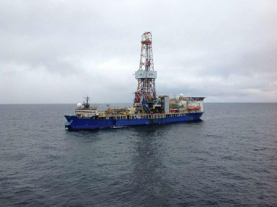 Shell's drillship Noble Discoverer experienced propulsion problems pulling into Seward, Alaska, last November. Photo: Shell Oil Co.